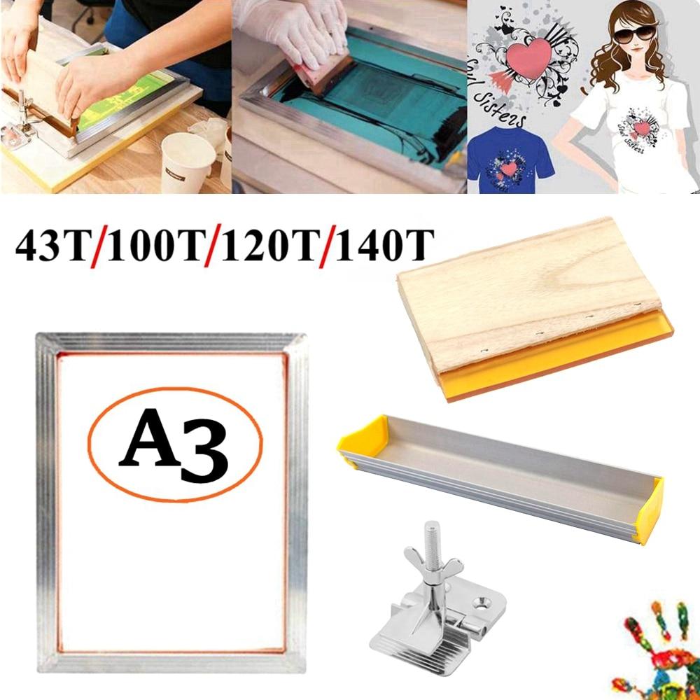 4 шт. A3 набор трафаретной печати алюминиевая рама растягивается с сеткой 120 м/350 м, шарнирный зажим, эмульсия совок, Ракель доска набор