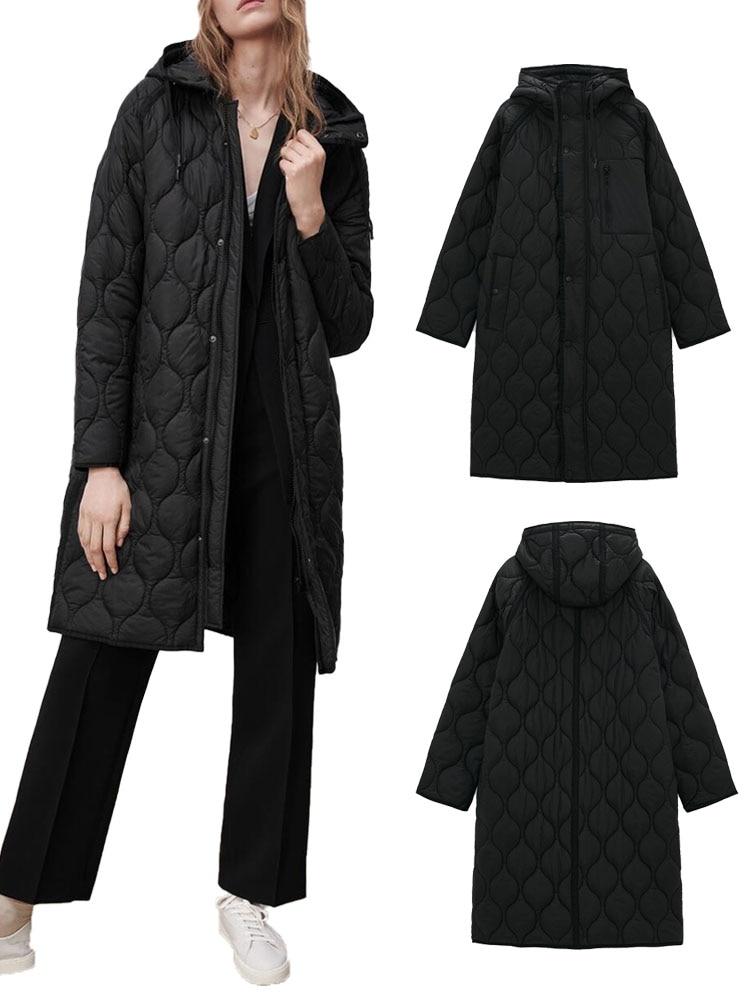 ZA جديد الخريف والشتاء مقنعين منتصف طول فضفاض موضة عادية سليم جيب سستة زر سترة قطن المرأة