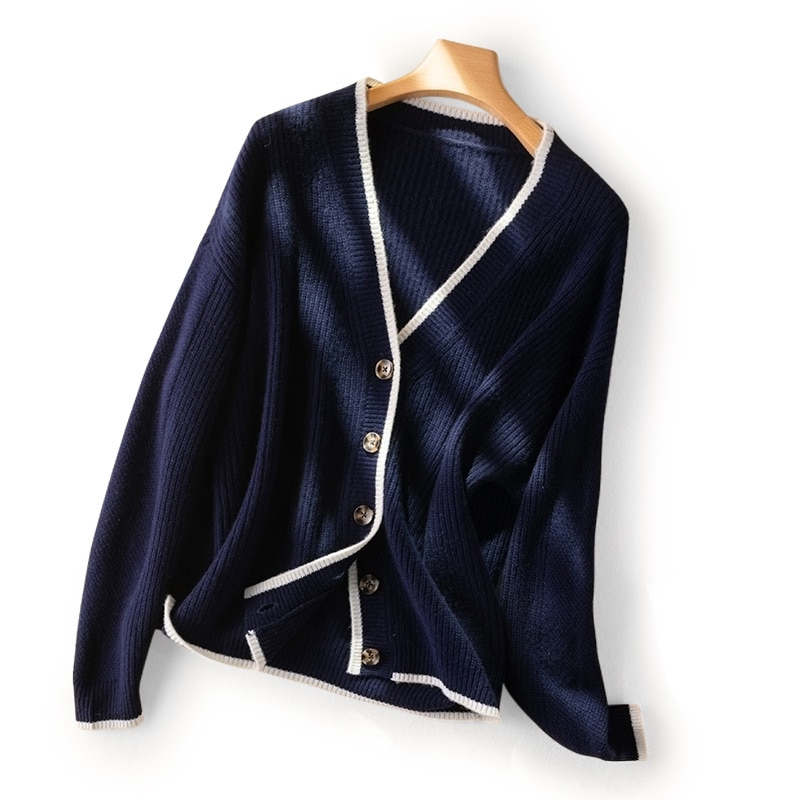 SHUCHAN 100% Wool Thick Winter Warm Sweater Women Knit Cardigan 2021 New High Street  V-Neck  Single Breasted  Solid