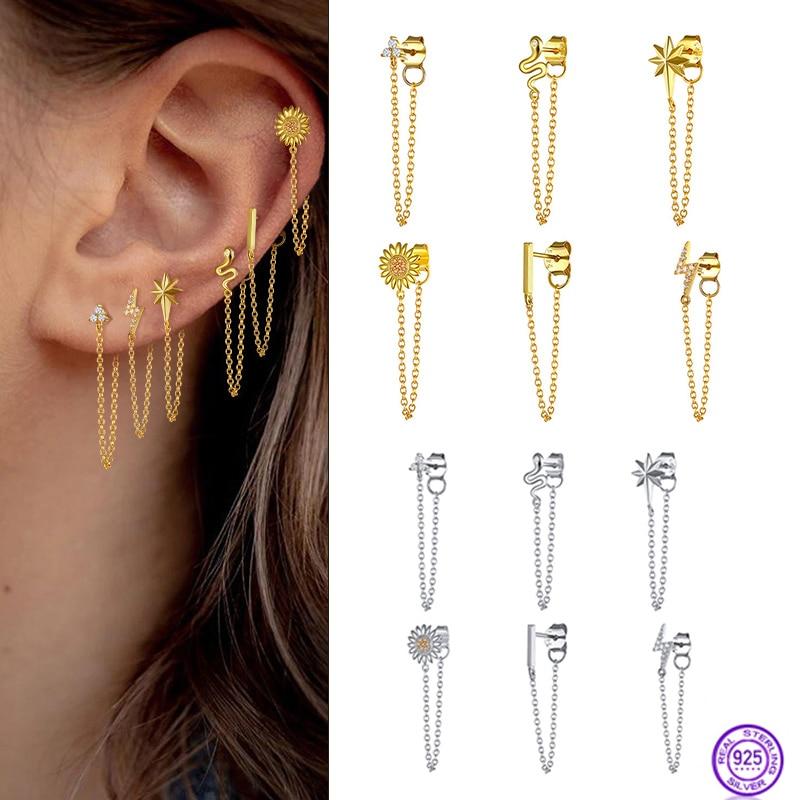 snake Ear wire silver chain Long earrings 925 Sterling silver for women Star moon Rainbow zircon Ear