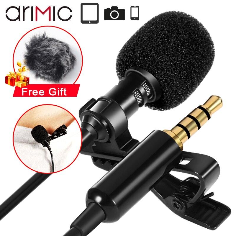 Arimic lapela lapela microfone de gravação microfone condensador microfone extensão 2m cabo para iphone android smartphone youtube
