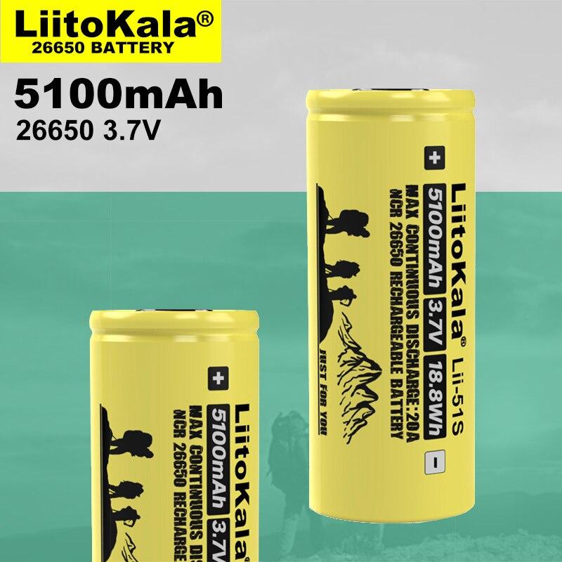 1 Pcs Liitokala LII-51S 26650 20A Hoge Stroom Oplaadbare Lithium Batterij 26650A , 3.7V 5100mA. Geschikt Voor Zaklamp