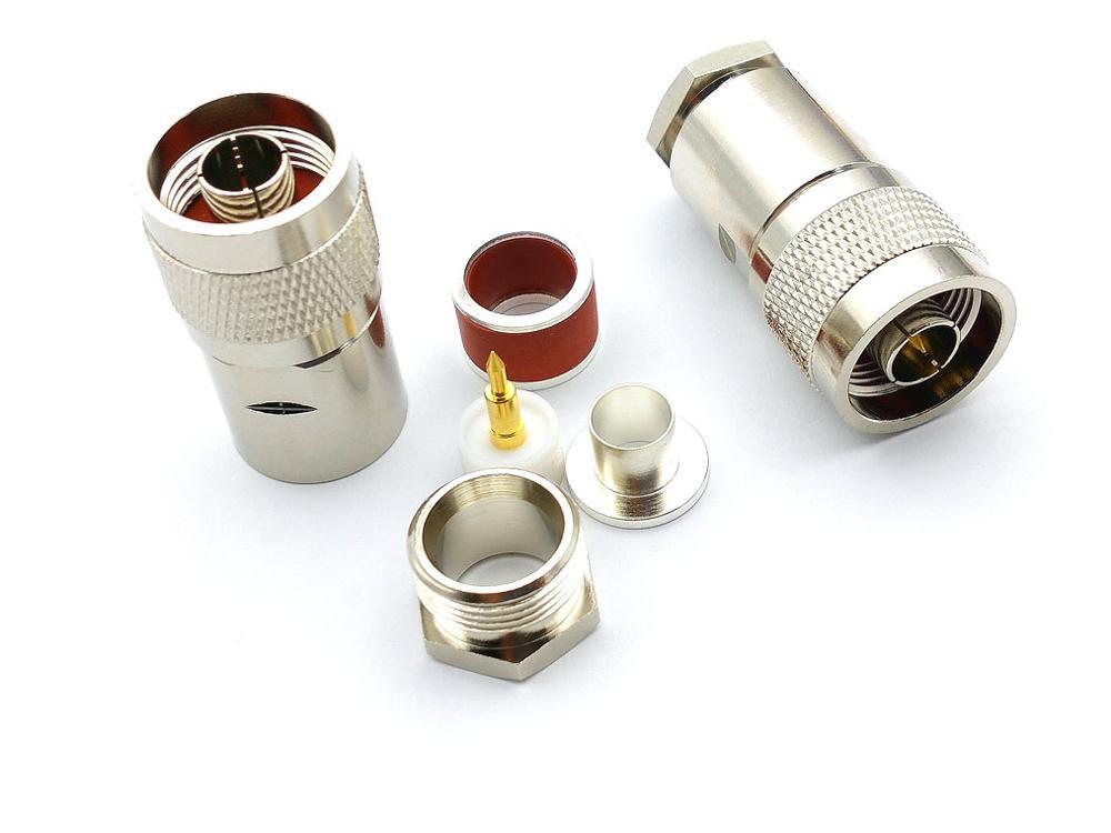 1 pçs de bronze macho plugue rf coaxial conector braçadeira para lmr400 rg8 rg213 rg225 cabo coaxial