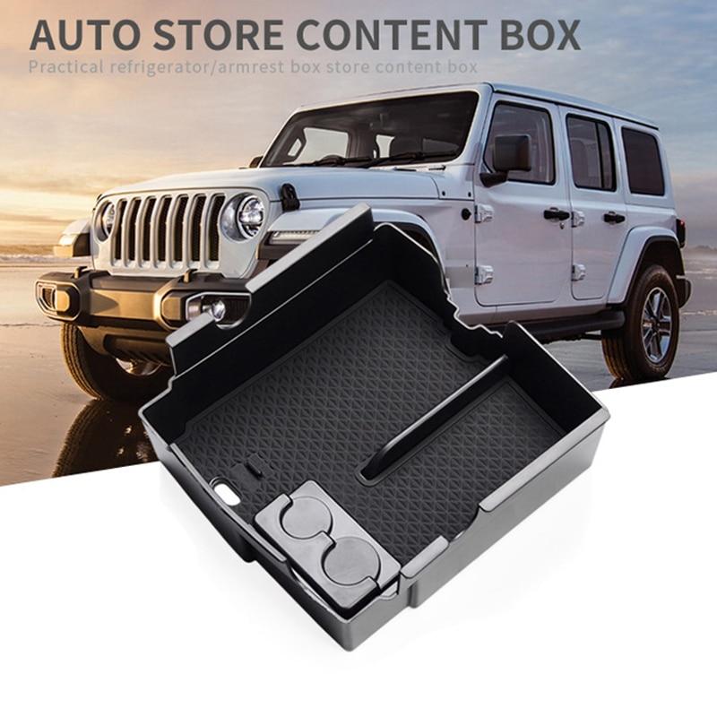 Car Central Armrest Box Storage for JEEP Wrangler JL 2018-2020 Sport Interior Accessories Box Coin Storage BLACK