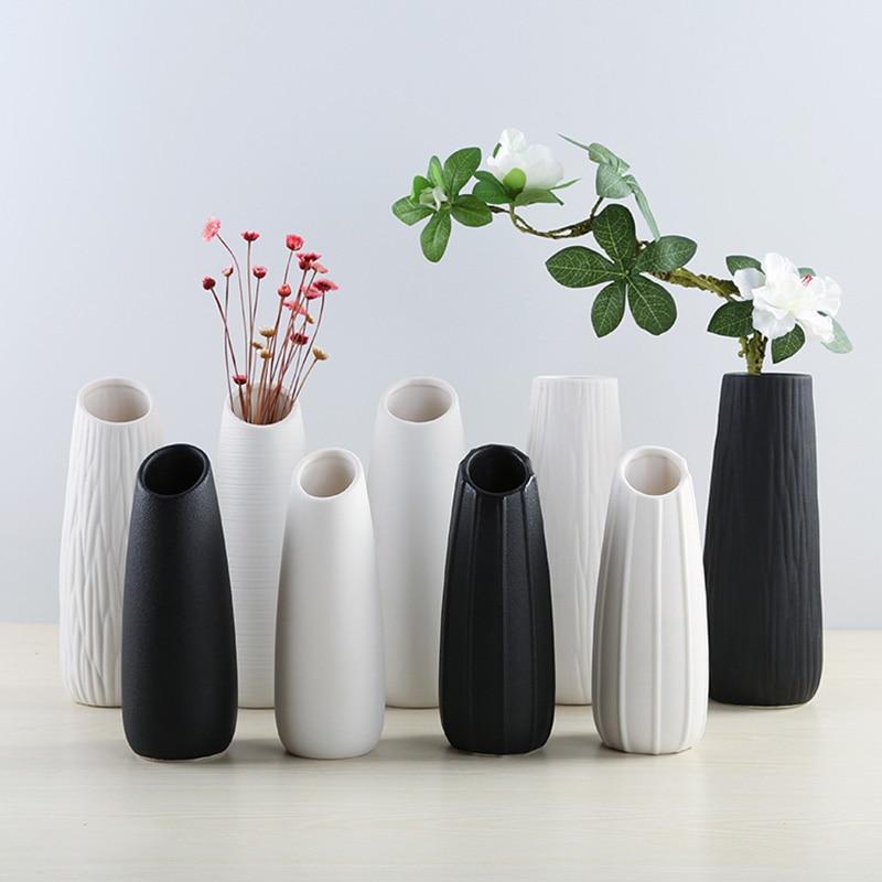 Vasos de cerâmica decorativos para casamento, vasos de cerâmica nórdicos brancos/pretos para decoração de casa