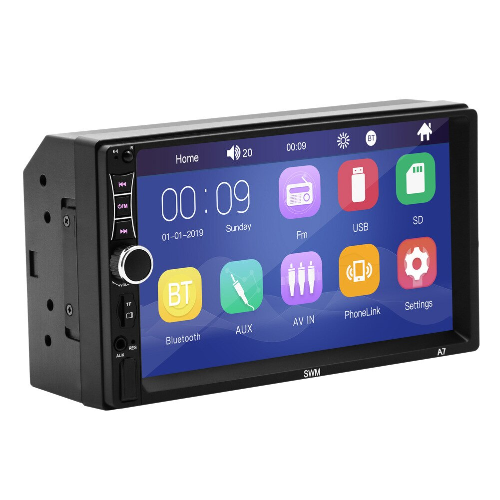 Reproductor MP5 de coche 7in Bluetooth estéreo USB AUX FM táctil Pantalla remota Control Radio SP99