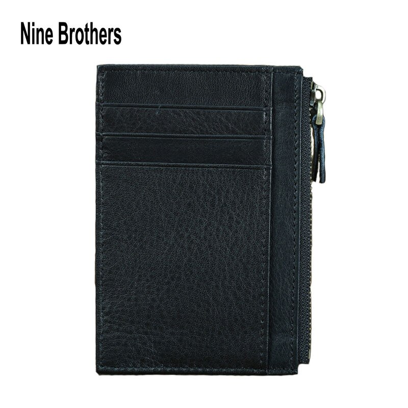 Casual Slim Wallet Real Cow Leather Credit Card Business Card Holders Driver's License Bank Visa Debit Card Cover Coin Purse