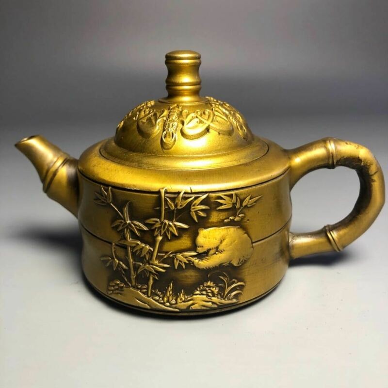 Chinese Pure Brass Teapot Carved With Pandas And Bamboo Statue