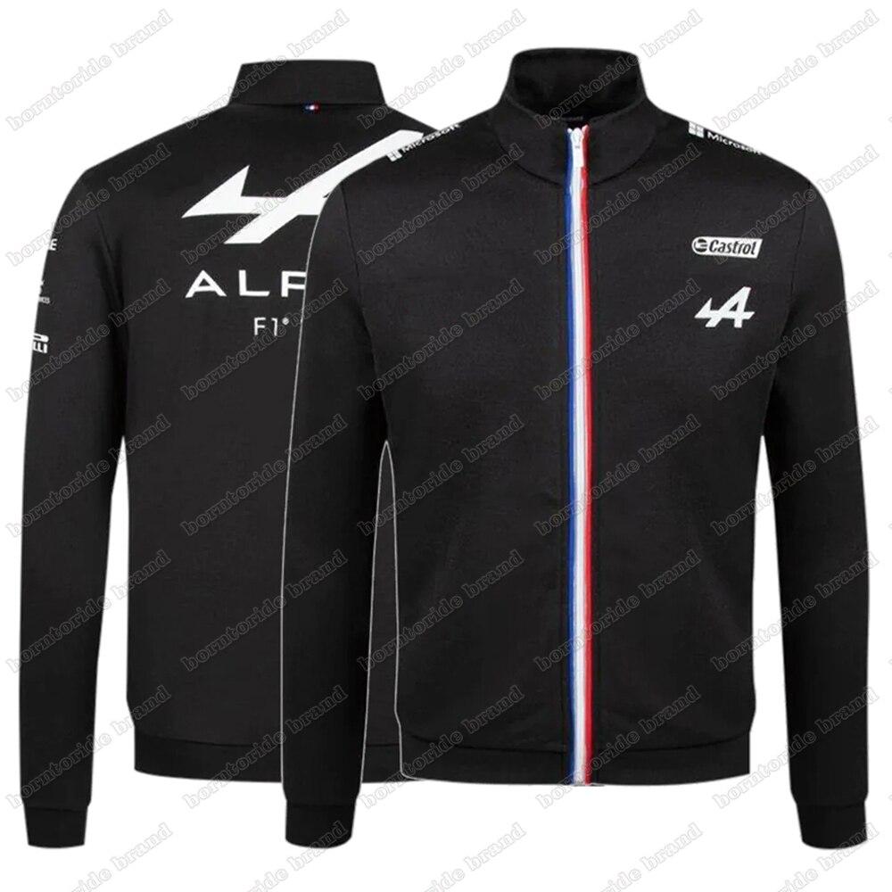 2021 Season Motorsport Alpine F1 Team A Racing Car Fan Black Sweatshirt Teamline Men's Sweater Clothing Full Zip Sweat Jacket