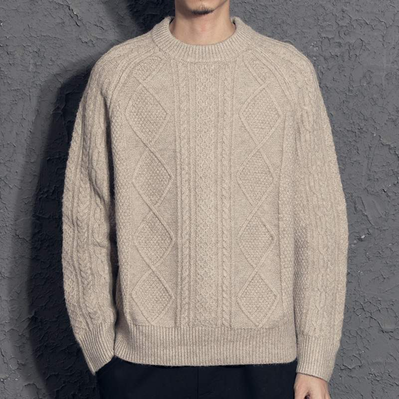 Cashmere Sweater Retro Rhombus Men's Sweater Thickened Casual All-Matching Sweater Personality Trend Autumn and Winter Cotton
