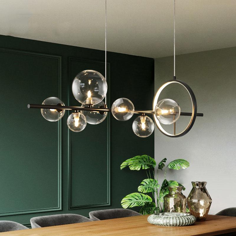 Modern Creative Metal Chandelier Lighting 7/10 Clear Glass Bubbles G9 Sockets Light Fixture Home Lights Living Room Kitchen