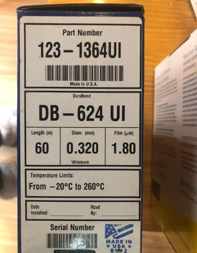 Columna cromatográfica de Gas Ultra inerte 60 m 0,32mm 1,80 para 123-1364UI Agilent DB-624