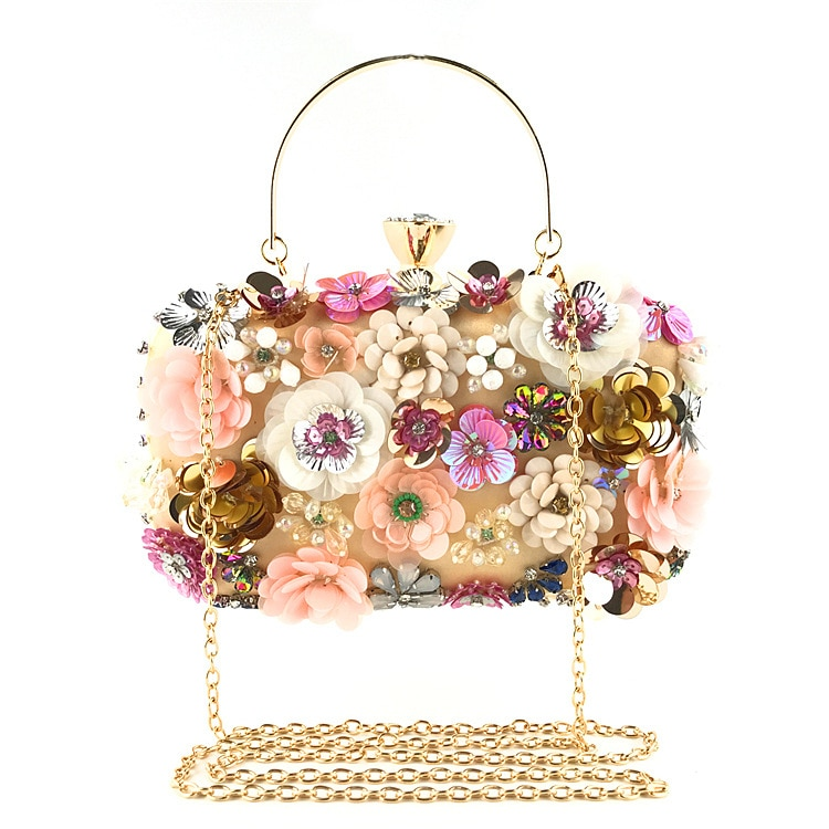Bolso de noche con flores para Mujer, pochette de mano, para boda,...