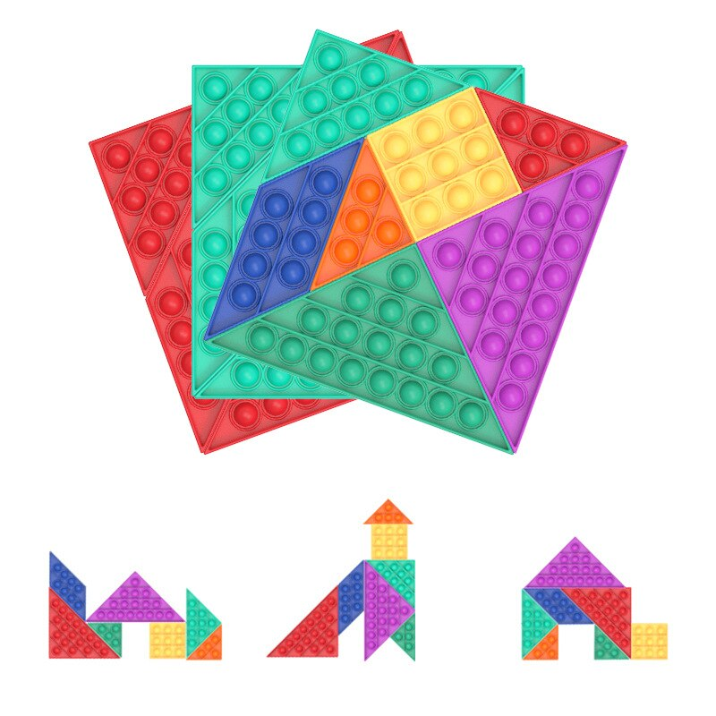 Jigsaw PoppIts Adult Kids Puzzle Antistress Push Bubble Fidget Toys Autism Needs Anti Stress Reliever Sensory Tangrams Digital enlarge