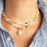 european and american fashion fashion items bohemian style colorful rice bead necklace personality shell necklace female