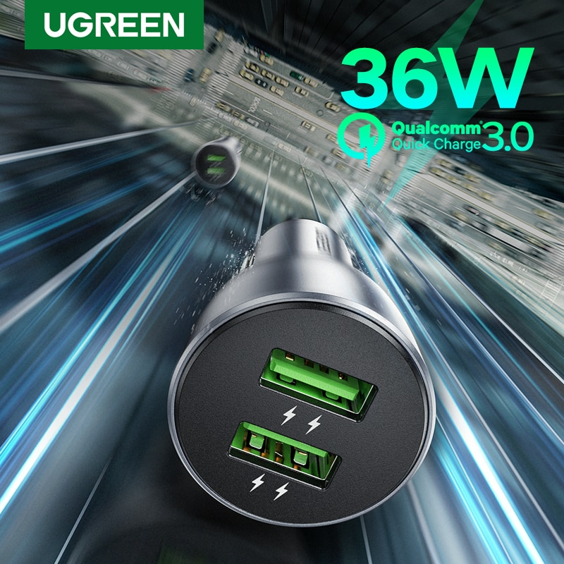 Ugreen Quick Charge 3.0 36W QC Car Charger for Samsung S10 9 Fast Car Charging for Xiaomi iPhone QC3