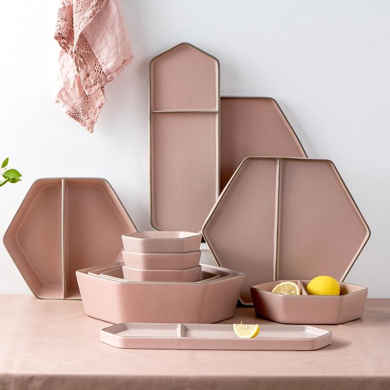 Morandi الشمال الصلبة أدوات مائدة سيراميك مجموعة الوردي عشاء ستيك لوح شبكي أطباق السلطانية