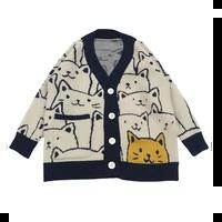 harajuku cartoon cat print cardigan sweater men streetwear kawaii pattern knitwear fashion casual knitted jacket women unisex