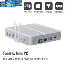 Cheapest Fanless Mini PC Nuc Core i5 7200U DDR3 i3 8145U DDR4 Micro Computer Desktop Win 10 4K HDMI