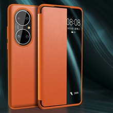 Fashion Smart View Leather Flip Cover Case For Huawei P50 Pro P40 P30 Window Phone Cover For Mate 40