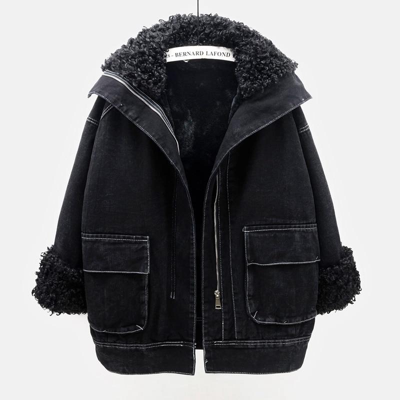 الخريف الشتاء سميكة الدافئة 3 اللون امبسوول اينر الدنيم سترة معطف المرأة Vintage ملابس خارجية فضفاضة كبيرة جيب الجينز سترة الإناث