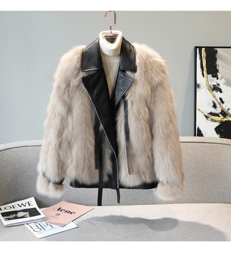 Winter ladies short fur coat new fashion lapel all-match motorcycle style fox fur casual hip-hop street trend warm jacket 2020 enlarge