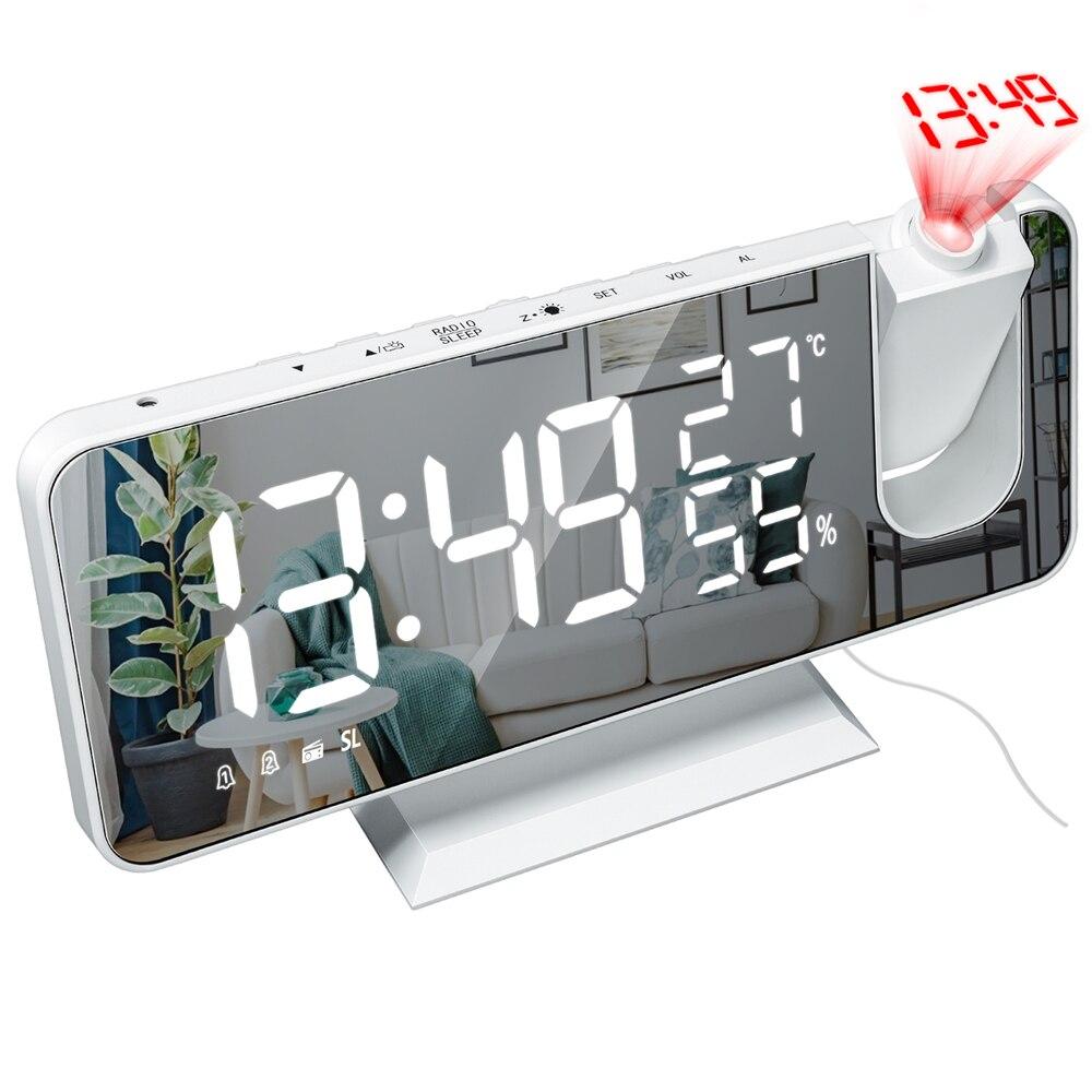 Mrosaa LED Digital Alarm Clock Watch Table Electronic Desktop Clocks USB Wake up FM Radio Time Projector Snooze Function 3 Color