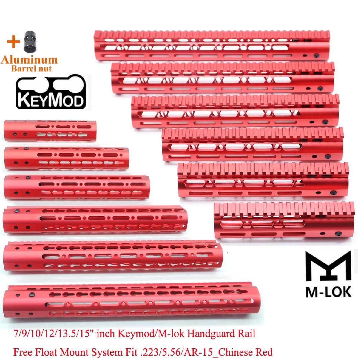 TriRock Red 7/9/10/12/13.5/15 pouces ultra-léger Keymod/m-lok Handguard Rail Fit .223/5.56/AR-15 série avec écrou de baril en aluminium