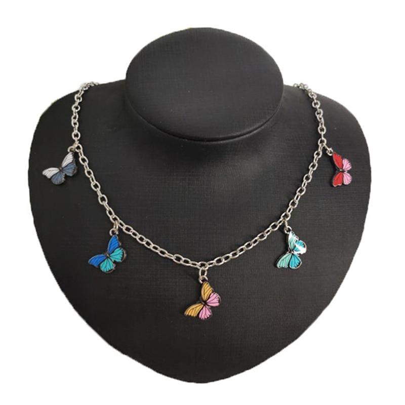 Bonito colorido animal borboleta corrente colar para mulher clavícula corrente 2020 gargantilha colar jóias presentes 50 + 6cm