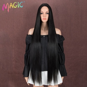 Magic 36inches Straight Long Wig Middle Part Black Wig Synthetic Lace Wig For Black Women Heat Resistant Costume Women Hair