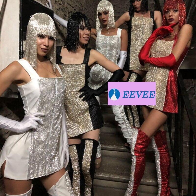 Diamante de imitación personalizado, vestido con cuentas, peluca, disfraz para escenario, conjunto sexy, gogo, traje de bailarina, bar, discoteca, fiesta, rave, atuendo