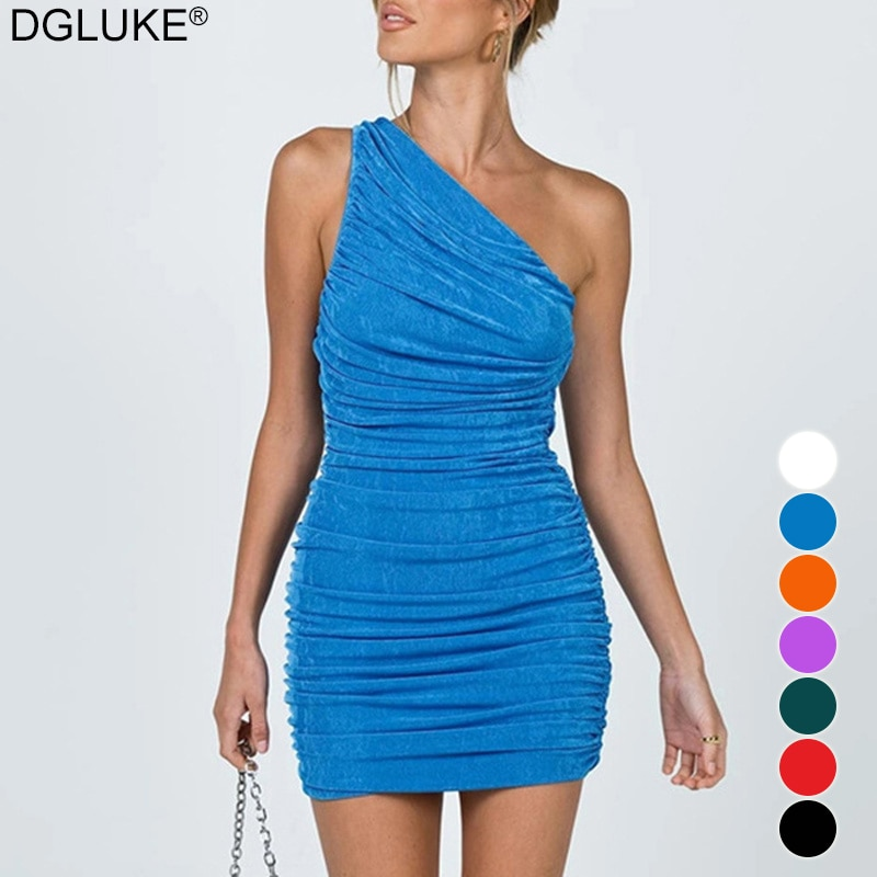 One Shoulder Sexy Mini Dresses For Women 2021 Summer Sleeveless Ruched Bodycon Dress Blue Orange Red