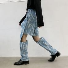 EWQ / men's and women's wear 2020 spring summer korean denim pants for male hole patchwork rivet niche loose jeans new 9Y1617