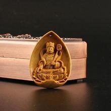 China exquisito Boxwood mano grabado Marici colgante de Bodhisattva estatua de Buda pequeño regalo