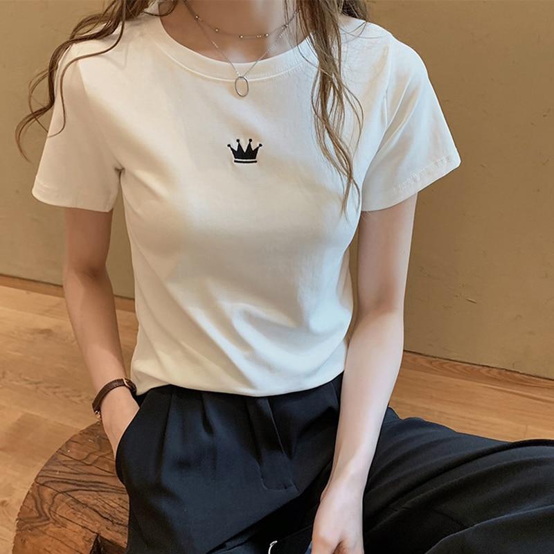 Verano estampado de corona camiseta mujer Slim Chic estilo coreano Kpop Grunge moda camiseta mujer tumblr harajuku camiseta ulzzang