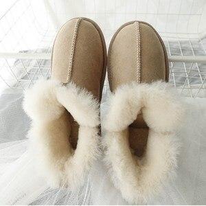 Женские ботинки высокого качества простые зимние ботинки из натуральной овечьей кожи с натуральным мехом Брендовые женские Теплые ботильо...