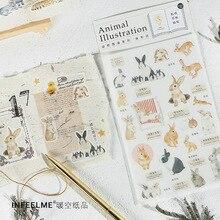 Autocollant décoratif série Animal Atlas lapin et chat, étiquette Scrapbooking, papeterie pour journal intime pour Album, Escolar, DIY bricolage