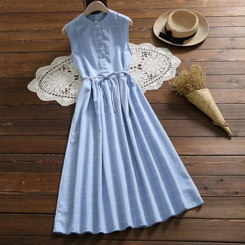 Korean Style Summer Women Long Sundress Blue Gray Plaid Casual Vestidos Femininos Sleeveless Lace Up Elegant Vintage Sweet Dress