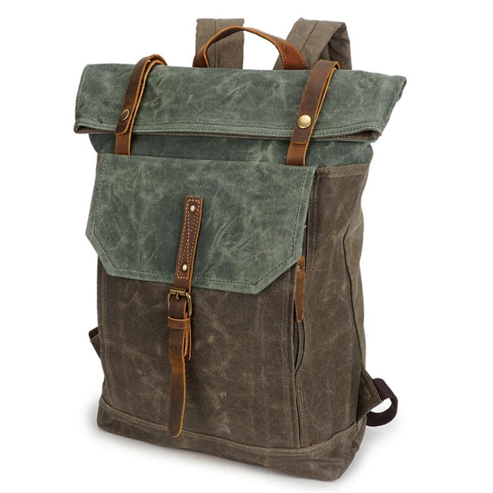 2021 الرجال على ظهره مشمع مقاوم للماء قماش حقائب جلدية كبيرة المشي لمسافات طويلة تسلق حقيبة ظهر السفر
