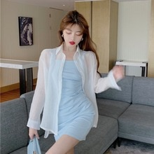 Light Mature Elegant Retro Versatile Pleated Camisole Dress + Solid Color Thin Shirt Suit Two-Piece