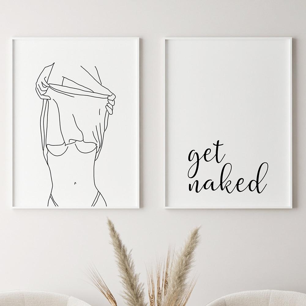 Pintura en lienzo para decoración de la pared del baño, cartel de arte en lienzo, una línea, dibujo sexi de mujer, pintura en lienzo a la moda