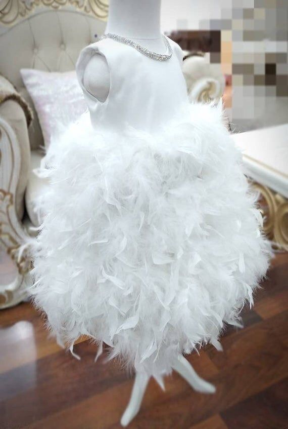 Pure White Girls Feather Princess Birthday Party Dresses Girls Feather Girls Celebrity Dresses Communication Dresses Real Photos