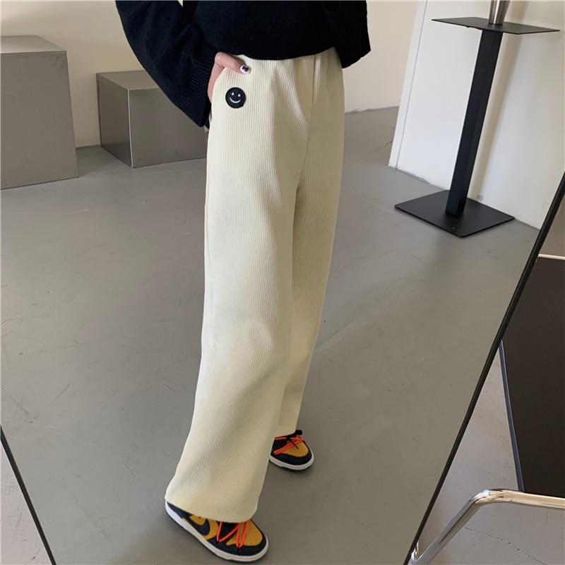 Cost-Effective Autumn and Winter High Waist Wide Leg Pants Corduroy plus