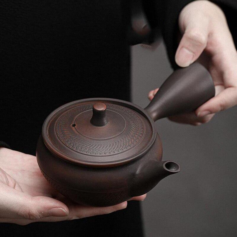 بيني 150 مللي الأرجواني الفخار القفز سكين مقبض جانبي وعاء النمط الياباني السيراميك الكونغ فو براد شاي درينكوير الرجعية