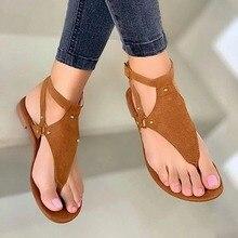 Women Flat Sandals Faux Suede Non-slip Beach Footwear Women Flat Bottom Sandals Match Casual Shoes W