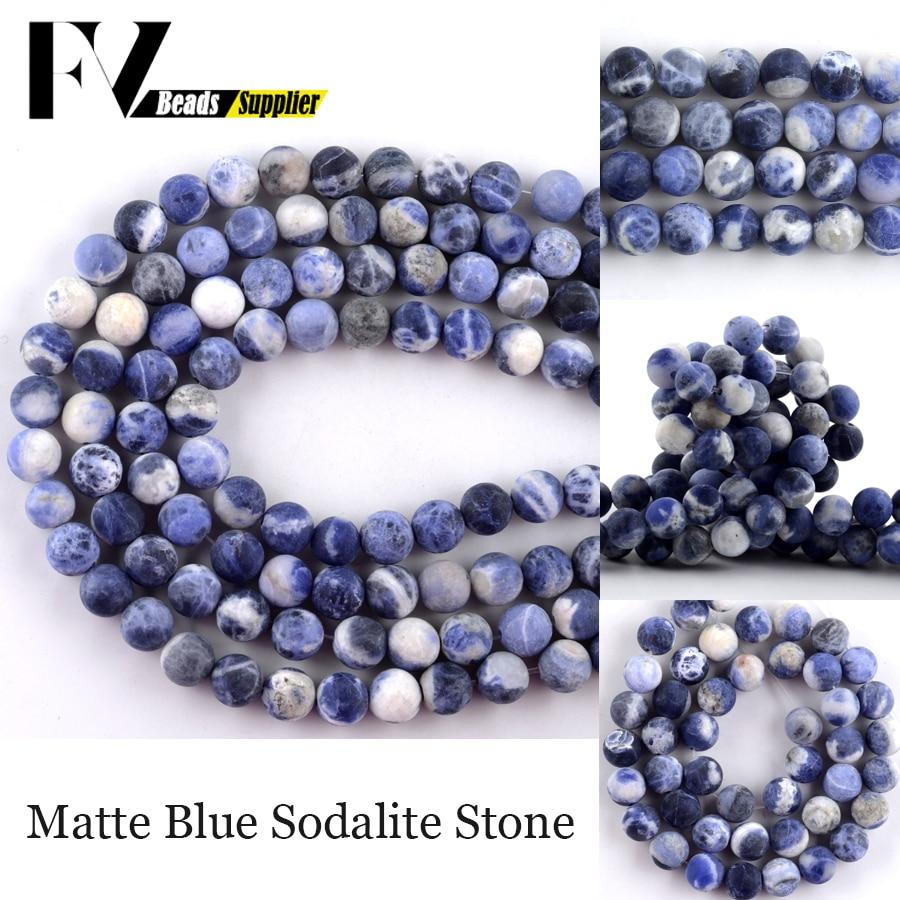 Cuentas de piedra Natural de sodalita pulida para fabricación de joyas, abalorios...
