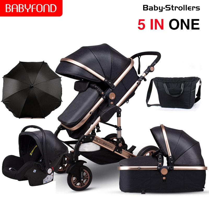 Baby Stroller 3 in1,Babyfond High Landscape Stroller With Car Seat Aluminum Frame Two-Way Folding Carriage For Newborn,EU No Tax