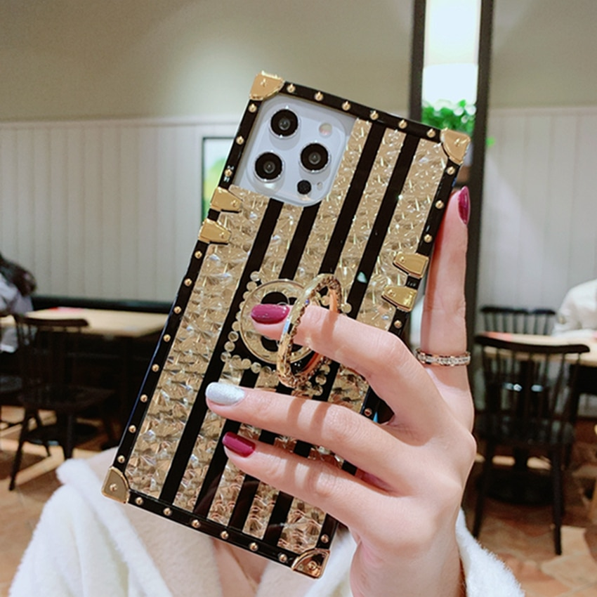 Square Marble Plated Gold Ring Phone Case For iPhone 12 11 Promax XR Xsmax 7 8 Plus 12mini SE2020 Diamond Funda Capa Coque Etui