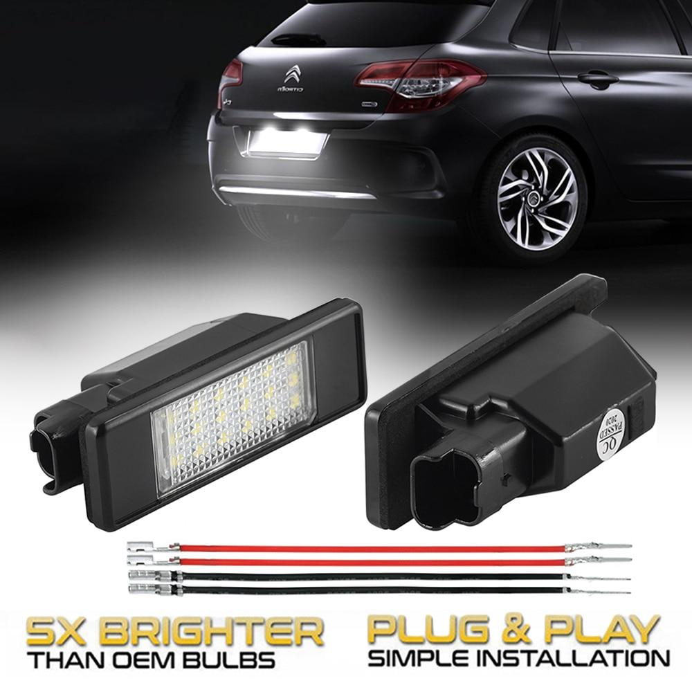 2 шт. светильник Автомобильные светодиодные лампы для номера Citroen C4 C3 C5 Berlingo C2 DS3 C6 Jumpy C8 DS5 Evasion C-Elysee