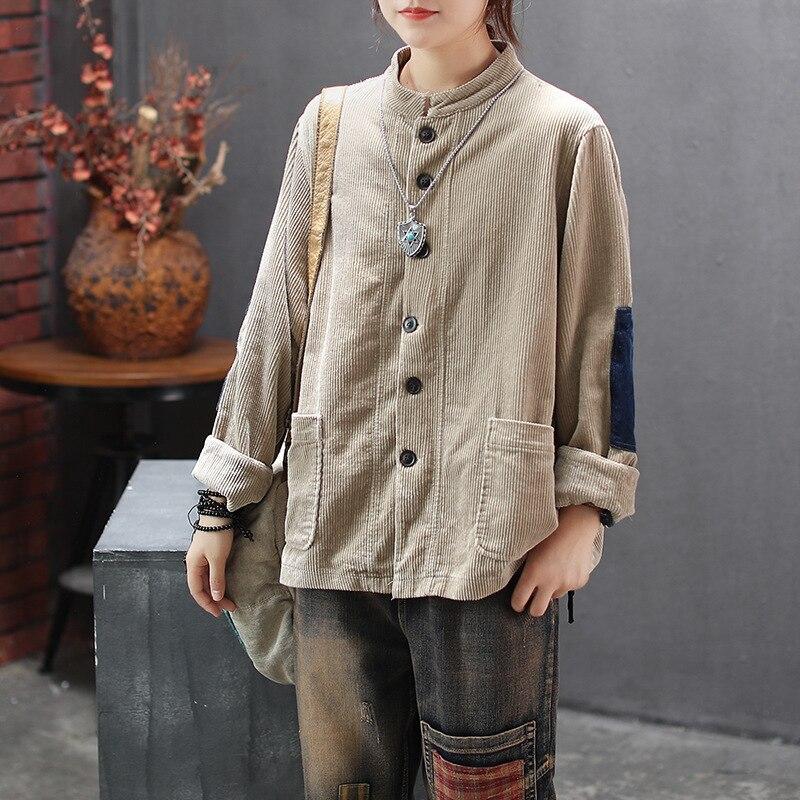 NINI WONDERLAND las mujeres de pana chaqueta abrigos otoño manga larga cuello suelto abrigo de primavera Vintage mujer prendas de retazos para intemperie